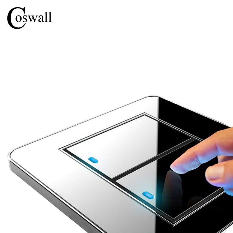 Fabricante Coswall marca 2 Gang 1 Way botón de presión aleatorio interruptor de luz de pared con indicador LED Panel de cristal acrílico