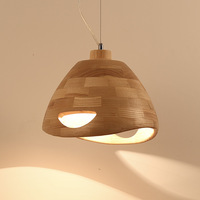Geometric modelling oak wood lamp box wooden American droplight restaurant cafe personality real wood bar lamp