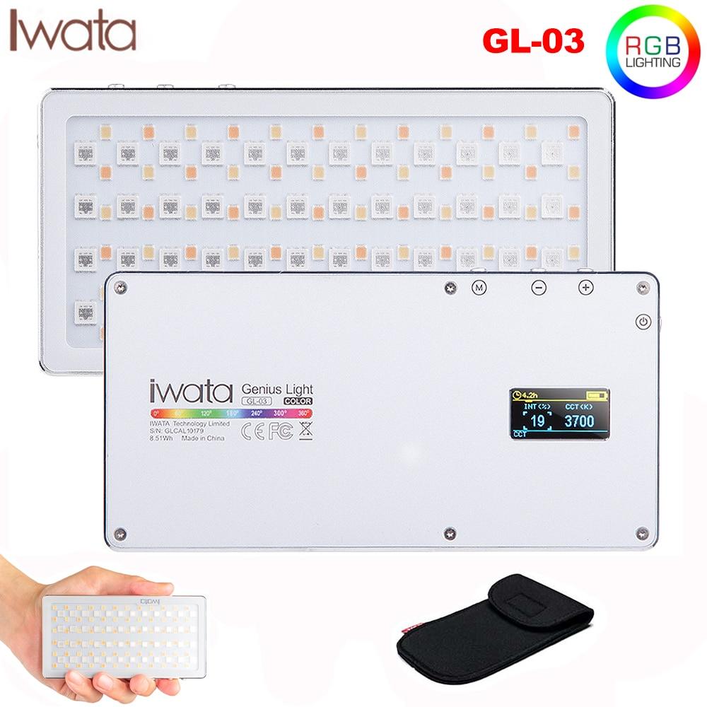 Iwata GL-03 RGB Full Color LED Video Light 3000K-5500K Dimmable Photography Video Studio DSLR Cameras Light For Vlogging Live