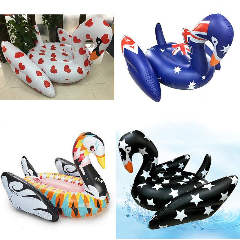 190cm Giant Pool Float Inflatable Colorful Swan Swimming Ring USA Flag Star Heart Printing Air Mattress Beach Mat Water Pool Toy