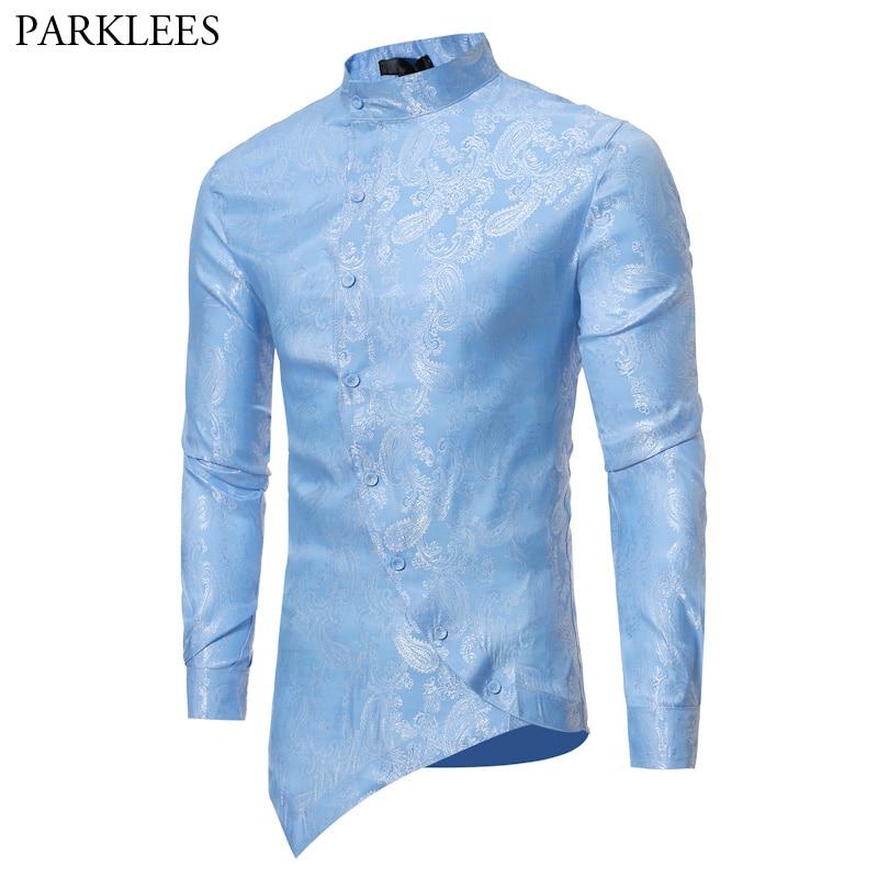 Paisley Shirt Men 2018 Irregular Oblique Hem Social Shirt Mens Causal Button Down Dress Shirts Slim Long Sleeve Chemise Homme