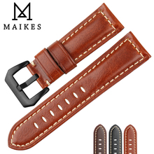 MAIKES Good Quality Watchband Genuine Leather Watch Strap 26mm 24mm 22mm Watch Accessories Bracelet Watch Band For Panerai цена и фото