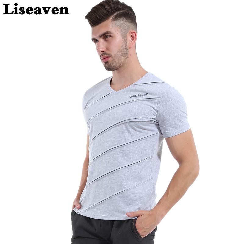 Liseaven Pánské Topy & Trička V Neck Shirt Slim Fit tričko Pánské tričko s krátkým rukávem Neformální tričko Pánské krátké trička  t