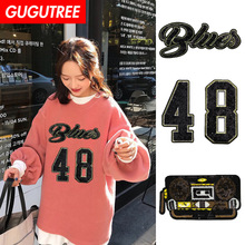 GUGUTREE embroidery Sequins big 48 patches letter patches badges applique patches for clothing XC-115 gugutree rope embroidery sequins big skull patches love heart patches badges applique patches for clothing xc 47