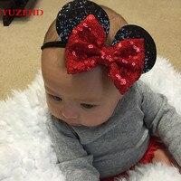 YUZEHD 1 PC lindo niños lentejuelas Bowknot moños ratón oreja estilo pelo banda Nylon diadema para niñas recién nacidas