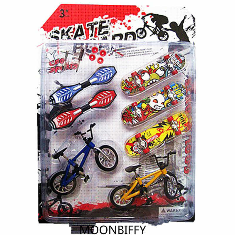 7PCS/Set Mini Fingerboard finger skateboard and bmx bike toy for children kids skate boards scooter FSB fun Novelty bicycle gift