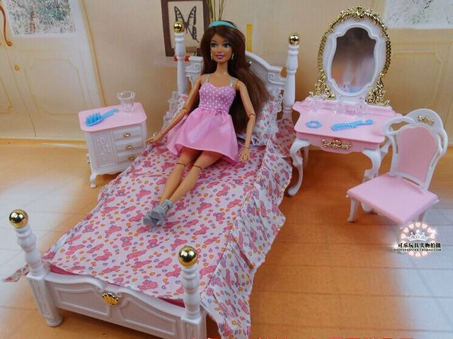 Roze Slaapkamer Stoel : Roze prinses bed dressoir stoel set poppenhuis meubels puzzel baby