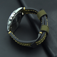 high quality 20mm 22mm 24mm Leather Watch Strap Man Watch Straps Black brown gray Stainless Steel Buckle Thick line Watch Band