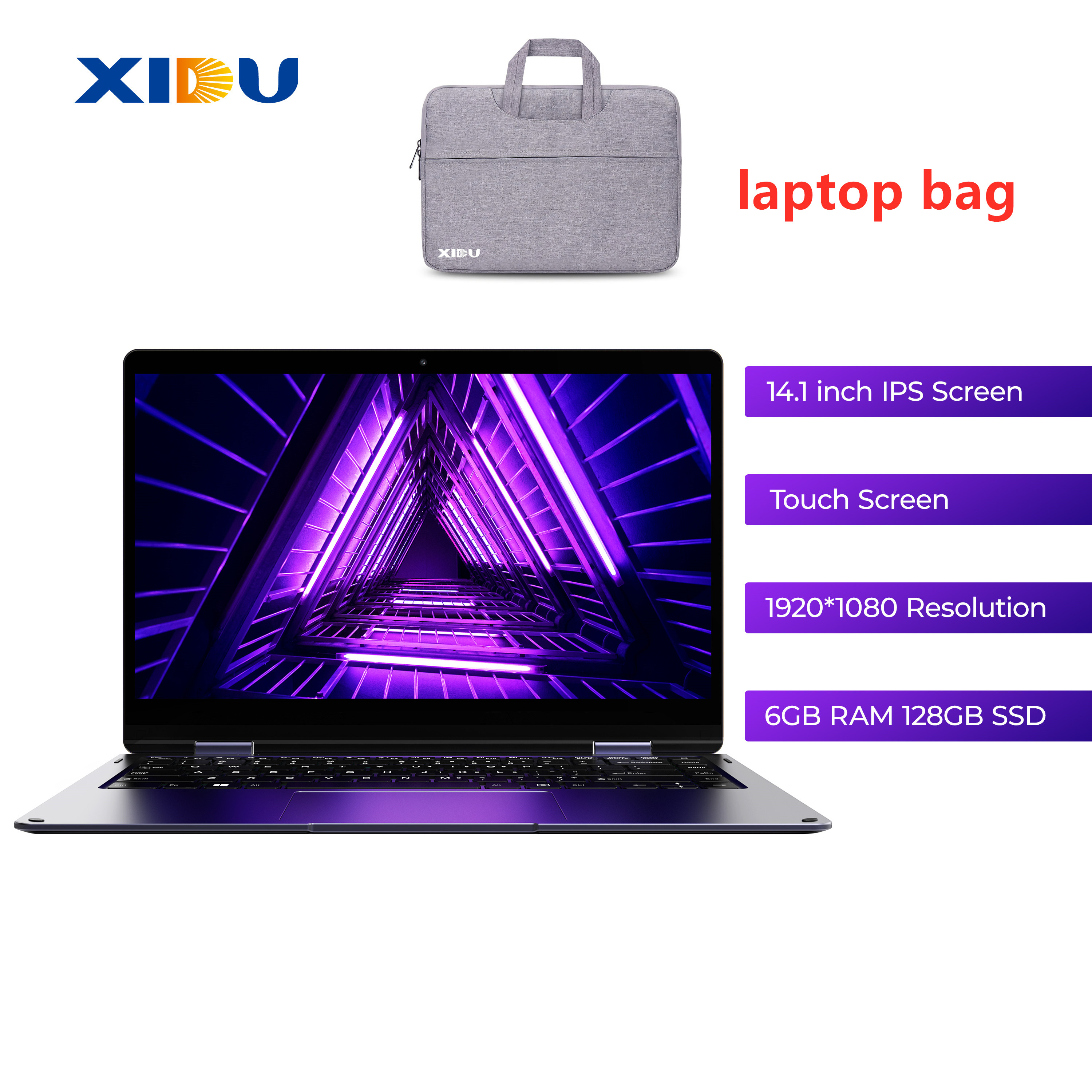 New XIDU 14.1 inch Laptop Computer Intel Apollo Lake Windows 10 Home Netbook 6GB RAM 128G SSD Aluminium Alloy Cover Ultrabook