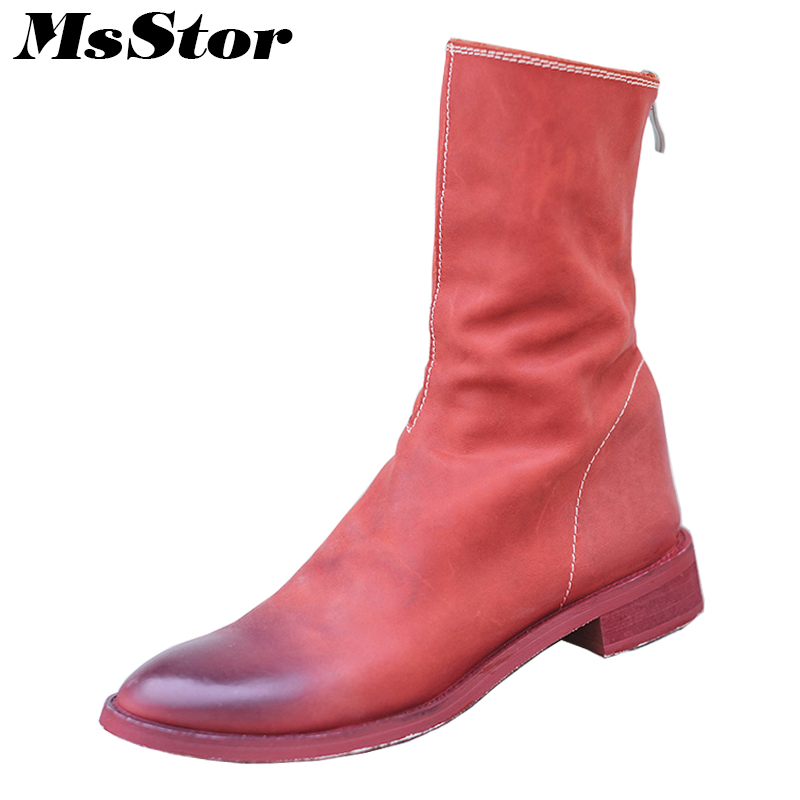 MsStor Round Toe Square Heel Boots Shoes Woman Casual Fashion Metal Zipper Mid-Calf Boots Women Shoes Genuine Leather Boots 2018 beauty vogue socks boots women shoes stacked heel pointed toe square heel shoes woman mid calf boots ladies shoes green khaki