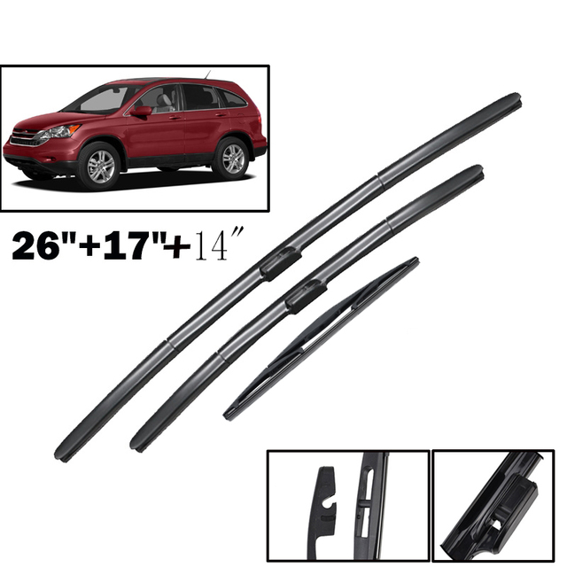 "Ericks Wiper LHD Front & Rear Wiper Blades Set Kit For Honda CRV CR V 2007   2011 MK3 Windshield Windscreen Window 26""+17""+14"""