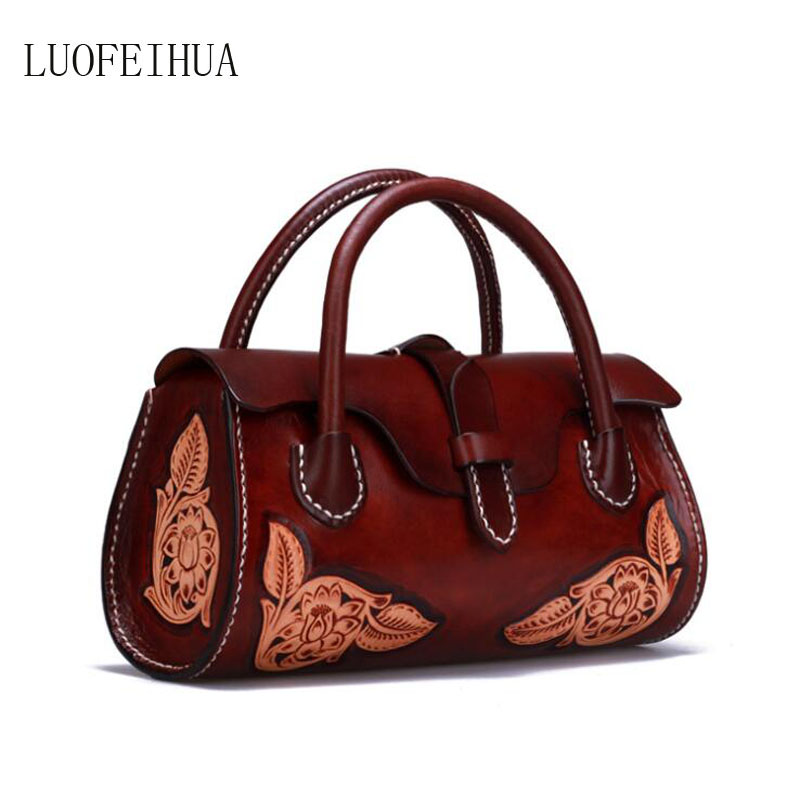 Women Genuine Leather bag 2019 new Chinese style handbag Luxury creative handmade leather carving handbag Designer bagWomen Genuine Leather bag 2019 new Chinese style handbag Luxury creative handmade leather carving handbag Designer bag