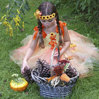 Baby Girls Fall Autumn Leaves Sunflower Tutu Dress Toddler Kids Thanksgiving Ribbons Bow Knot Outfit Halloween