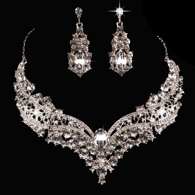 regalos para mujer Luxury Bridal Jewelry Set with Crystals Women Necklace Stud Earrings for bride Bridesmaids Evening Prom Party(China)