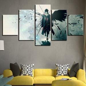 Canvas Home Decor Modular Wall Art Framework 5 Pieces Naruto Anime Uchiha Sasuke Paintings Living Room HD Prints Pictures(China)