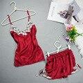 Bordado 2017 de Las Mujeres Conjunto de Encaje Sexy Pijama De Raso de Seda Pijama Conjunto V-cuello de Las Señoras Pijamas Homewear ropa de Dormir de Las Mujeres Ropa de Verano