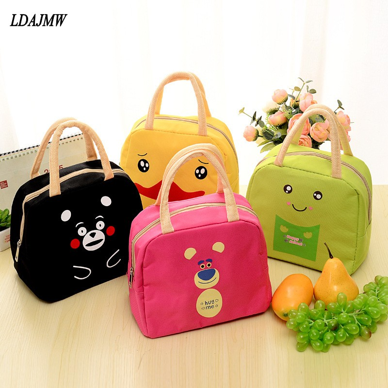 LDAJMW Cute Cartoon Lunch Bag Portable Insulated Cooler Bags Food Fruit Storage Bag Picnic Bag Women Student Kids Lunch Box Tote
