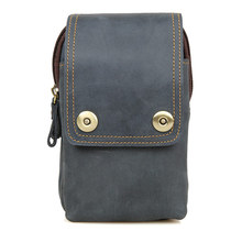 Genuine Cow Leather Fashion Portable Bag Mens Phone Case Blue Waist 5003K