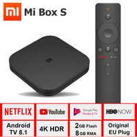 Xiao mi boîte S 4K TV Box Cortex-A53 Quad Core 64 bits Mali-450 1000Mbp Android 8.1 2GB + 8GB HD mi 2.0 2.4G/5.8G WiFi BT4.2 TV Box