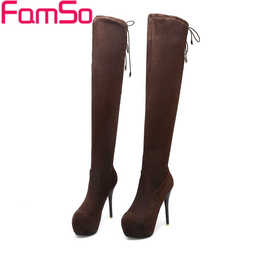 ФОТО Free shipping 2017 New Classics High Heels Autumn over the Knee Boots Designer Female Winter Women's Motorcycle Boots ZWB3883