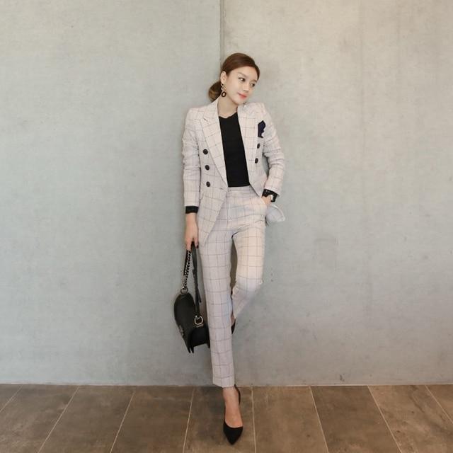Office Ladies 2 Two Pieces Sets Plaid Single Button Jacket Blazer + Slim Pant Suits Work Wear Fashion Outfits Femininas