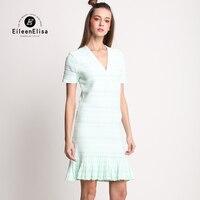 Runway Dress 2017 Summer Knee Length Dresses EE Summer Dress V Neck Cotton Woman Light Green
