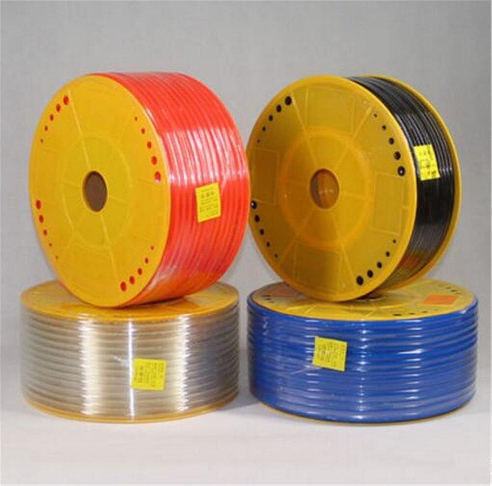 Купить с кэшбэком 1 Meter Pneumatic Component PU Tube Air Hose Pipe PU 4x2.5mm 6x4mm 8x5mm 10x6.5mm 12x8mm Red Blue Black Transparent