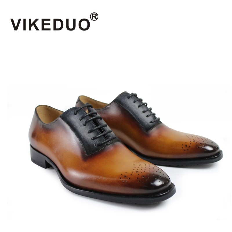 Vikeduo 2018 Handmade Italy Vintage Shoes Wedding Party Male Dress Shoe Genuine Leather Patina Men's Oxford Brogue Zapato Hombre vikeduo 2018 handmade brand italy shoes fashion designer wedding party office male dress shoe genuine leather mens oxford zapato