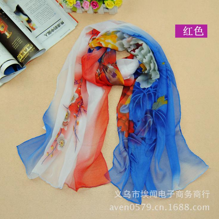 6 colors 160#50cm 2015 new fashion chiffon scarf Flower print autumn summer brand designer silk scarves shawl women men aw1(China (Mainland))