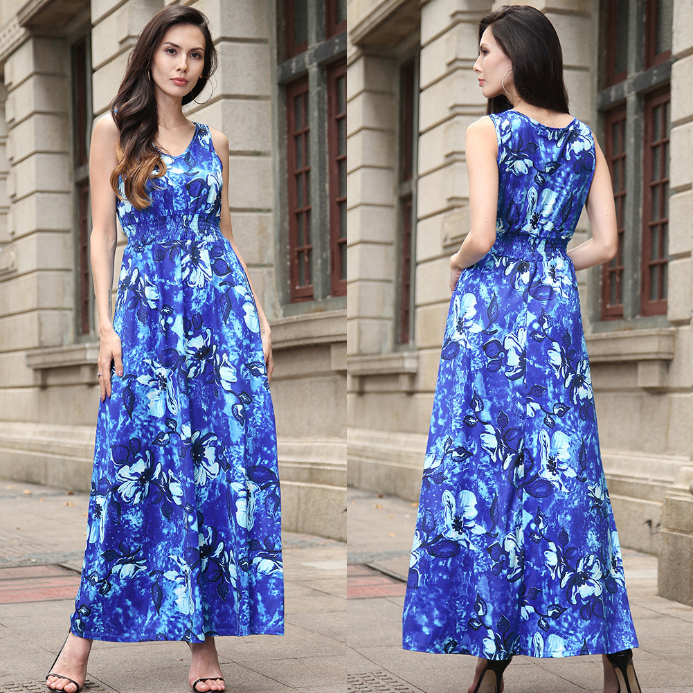 2018 Summer Sleeveless fashion Women Long dress Boho Female Big Swing Hem Ankle-Length Length Floral Print Beach Dreses ...