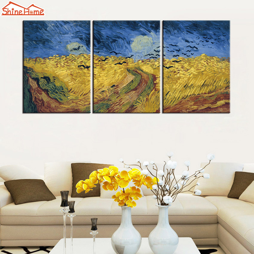 ShineHome-3pcs Van Gogh Abstract Oil Painting on Canvas Triptych Gold Wheat Field Crow Modular Picture Print for Livingroom Wall