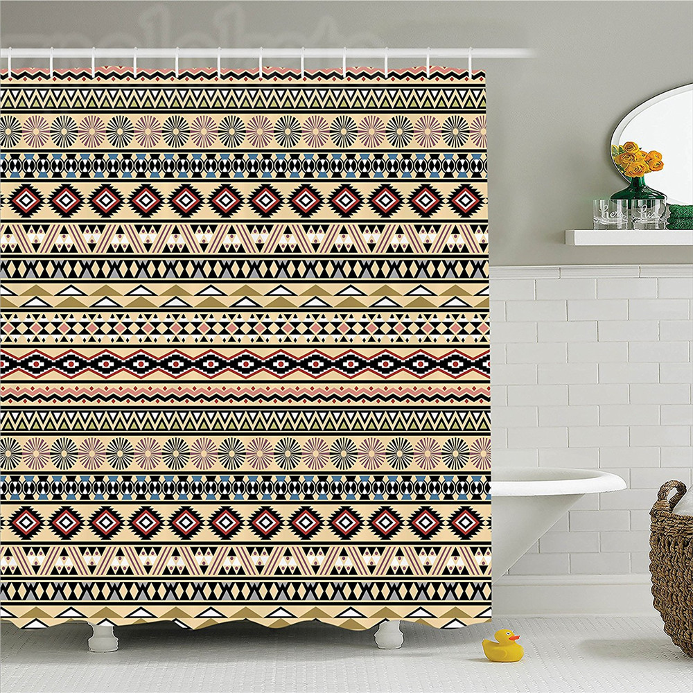 Native American Traditional South Culture Aztek Tribal Print In Retro Art Polyester Bathroom Shower Curtain Set