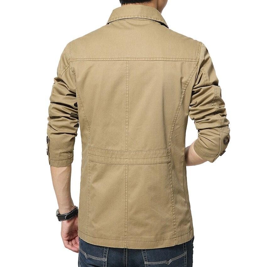 Outerwear Slim Fit Khaki Cotton Mens Jackets  5