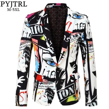 Print Blazer Design Hip Hot Casual Male Slim Fit Suit Jacket Singer Costume