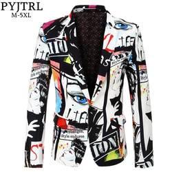 PYJTRL бренд 2018 новый прилив мужская мода печати Блейзер дизайн плюс размеры хип Горячие повседневное мужской Slim Fit пиджак певица костюм