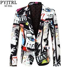 PYJTRL marca 2018 nueva marea de moda para hombre Blazer impresión diseño  Plus tamaño Hip Casual caliente hombre Chaqueta de tra. eceb904b2a03