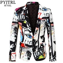 Pyjtrl Baru Tide Pria Fashion Cetak Desain Blazer Plus Ukuran Hip Hot Kasual Slim Fit Jas SINGER kostum(China)
