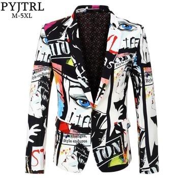 PYJTRL Brand New Tide Mens Fashion Print Blazer Design Plus Size Hip Hot Casual Male Slim Fit Suit Jacket Singer Costume