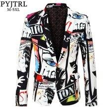 PYJTRL חדש לגמרי גאות Mens אופנה הדפסת בלייזר עיצוב בתוספת גודל ירך חמה מקרית זכר Slim Fit חליפת מעיל זינגר תלבושות