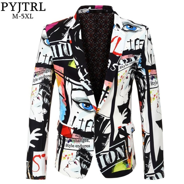 PYJTRL Nuovo di Zecca Marea Mens Stampa di Modo Giacca sportiva di Disegno Più Il Formato Hip Hot casual Maschio Slim Fit Rivestimento del Vestito Cantante costume