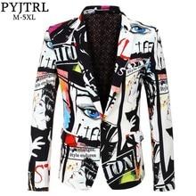 سترة مطبوعة عصرية للرجال بموضة جديدة من PYJTRL مصممة بحجم كبير للركبة غير رسمية للرجال بمقاس كبير بدلة ضيقة زي مغني