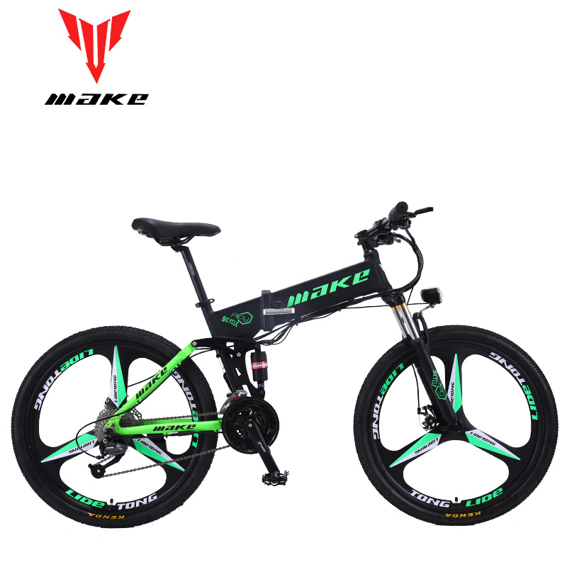 MAKE Mountain Electric Bike Full Suspension Alluminium Folding Frame 27 Speed Shimano Altus Mechanic Brake 26