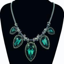 Винтажное Ожерелье Стразы серебряного цвета с подвеской в виде