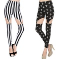 Free shipping wholesale  plus size black rock punk milk silk zebra white black stripe suspenders Garter Leggings  pants