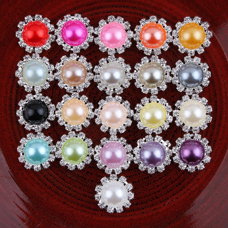 200PCS LOT 20MM 21 Colors Handmade Metal Round Flower Wedding Button For Hair Accessory Clear