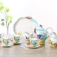 16 шт. эмаль высокого класса Кофе чашка набор 3D Творческий подглазурная Цвет роспись милые пары чашка и блюдце Кофе горшок комплект Бесплатн