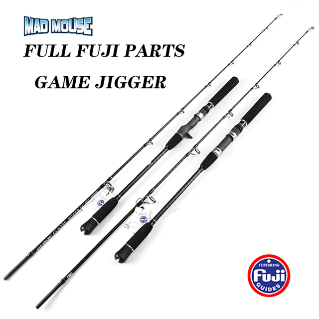 NEW JAPAN MADMOUSE 1.8M Full Fuji Parts Jigging Rod  PE 2 4 Lure Weight 60 200G Spinning / Casting Boat Rod Ocean Fishing Rod