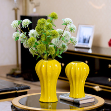 цена на Modern yellow Ceramic Vase Dried flower vases  for centerpieces for weddings Tabletop Porcelain vase  home decoration
