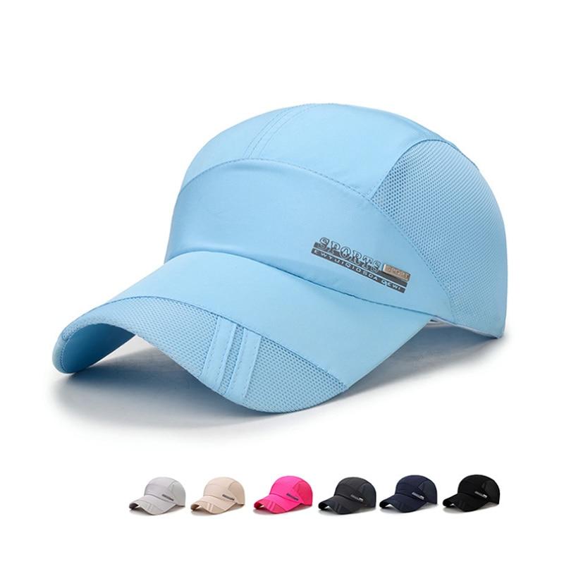 Men Women 2017 new Summer Snapback Quick Dry Mesh Baseball Cap Sun Hat Bone Breathable Hats free shipping