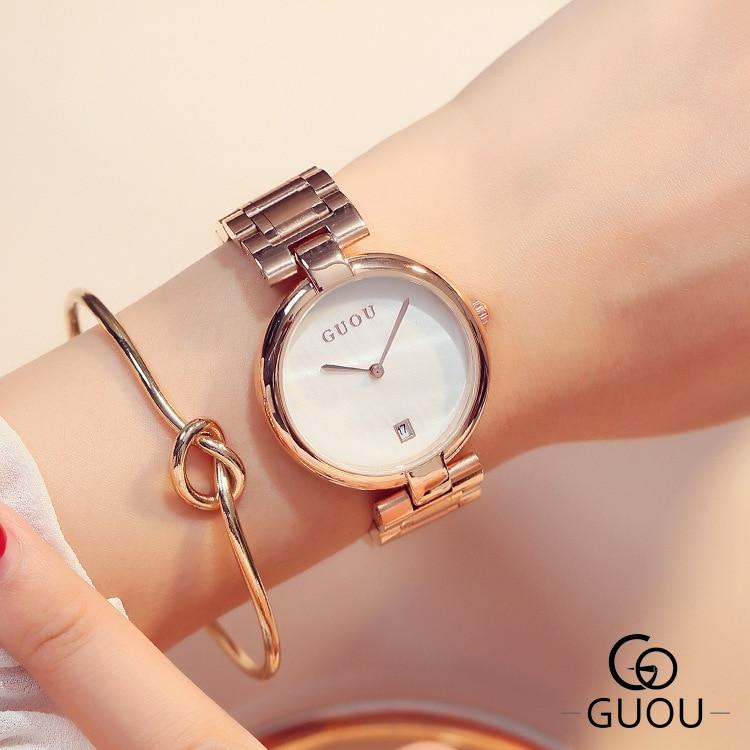 ouro rosa pulseira de aço relógios senhoras